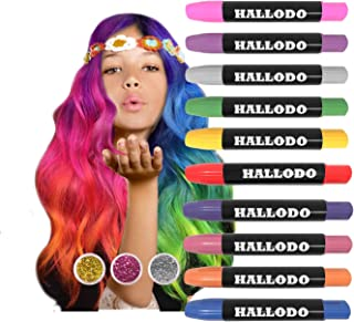 Hair Chalk, Temporary Hair Chalk Colors For Kids, Girls And Boys Great Birthday Gifts, Girls Age 4 5 6 7 8 9 10 11+, Hair Color Markers & Face Paint Pens For Halloween, Gift Box Plus 3 Glitter