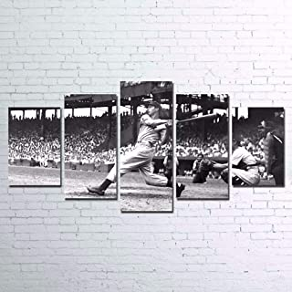 ZZXINK Canvas Poster Home Decor Wall Art Sports Pictures 5 Pieces Baseball Player Vintage Paintings HD Prints (Frame,L)