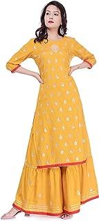 Arayna Women's Rayon Kurti Hand Work Gotta Patti Palazzo Set, Yellow
