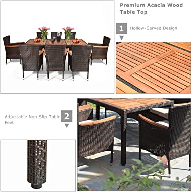 Tangkula 9 Piece Outdoor Dining Set, Garden Patio Wicker Set w/Cushions, Patio Wicker Furniture Set with Acacia Wood Table an