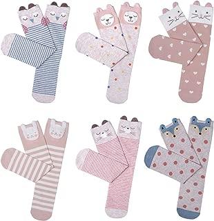 Girls Knee High Socks Cute Cartoon Animal Boot Socks Cotton Socks (6 Pairs)