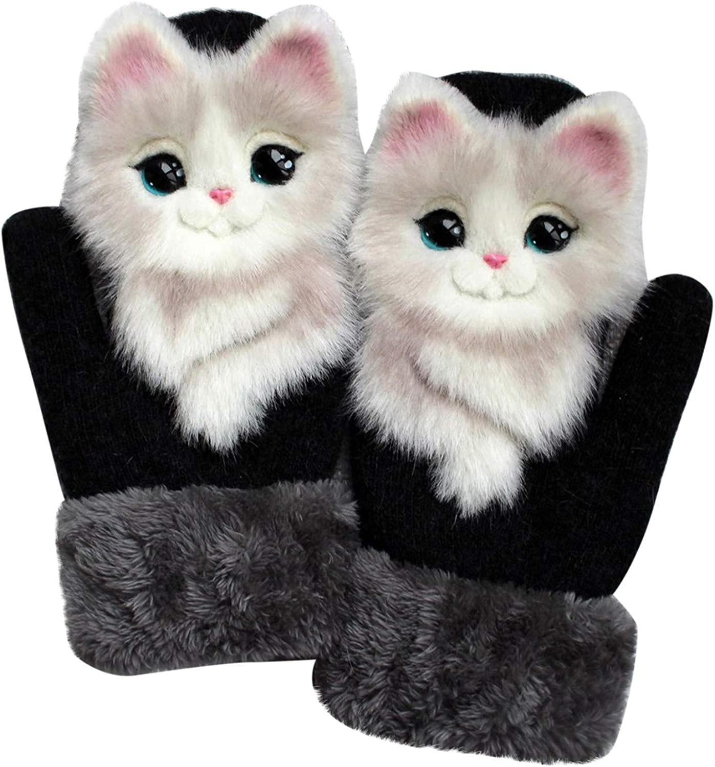 Womens Cute Cartoon Animals Winter Warm Gloves Full Finger Knitted Plush Outdoor Thermal Mittens