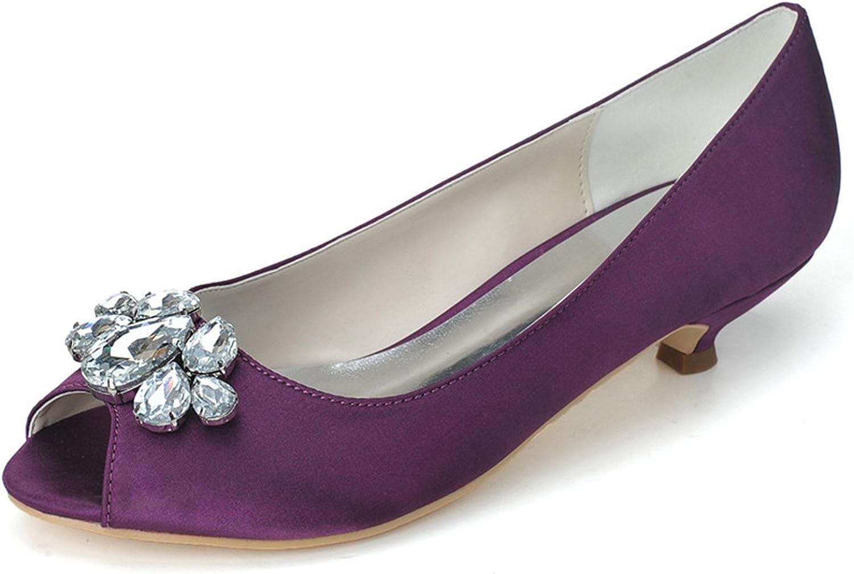 Fanciest Women's Peep Toe Pumps Heels Sandals Satin Crystal Wedding Bridal shoes White 0700-10