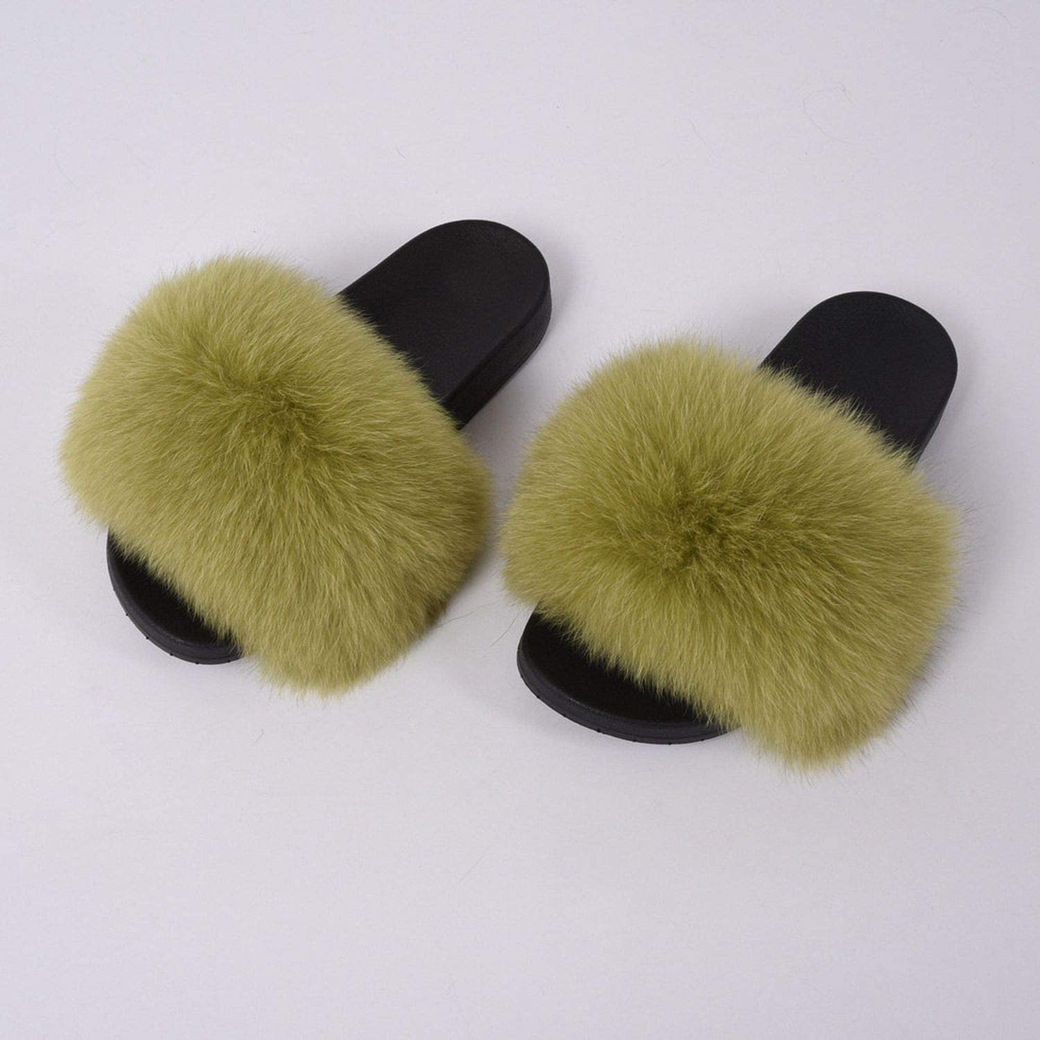 Blingbling-honored High end Real Fox Fur Slipper Women Slides Sliders Fashion Spring Summer Autumn Fluffy Fur Lady S6018