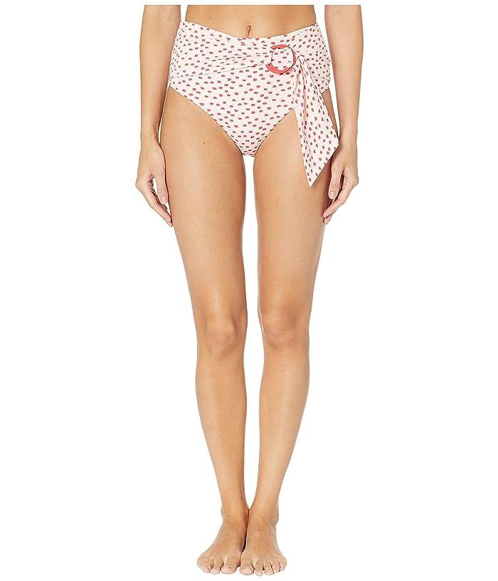 Jonathan Simkhai Classic Polka Dot High-Waisted Ring Tie Bikini Bottoms (Hibiscus/Red Print) Women