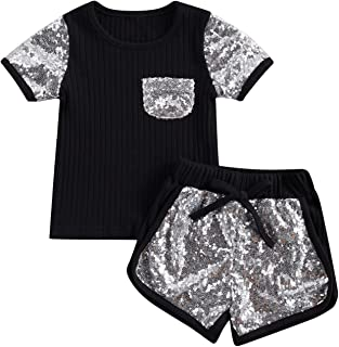 Toddler Girl 2Pcs Summer Sequins Clothes Set Short Sleeve T-Shirt Tops and Solid Color Elastic Shorts Outfit