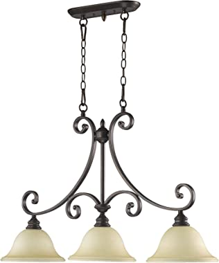 Quorum 6554-3-86 Transitional Three Light Island Pendant from Bryant Collection Dark Finish, 36.00 inches, Oiled Bronze