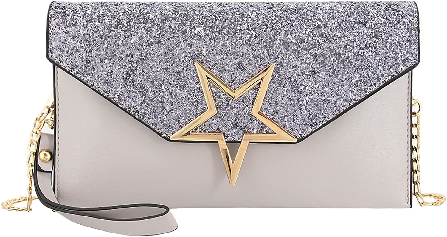 Gabrine Womens Evening Envelop Bag Clutch Purse Shiny Sequins Pentagram Pentacle Flap for Wedding Prom Party