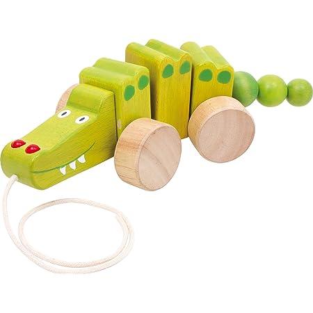 """2604 Animale da tirare """"Coccodrillo"""" small foot, animale da disegno in legno, promuove l'apprendimento nel camminare, oscilla quando viene tirato, a partire da 1 anno"""
