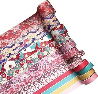 Gigicloud Lot de 12 rouleaux de ruban adhésif décoratif motif plantes vertes pour art, scrapbooking, emballage de cartes/c...