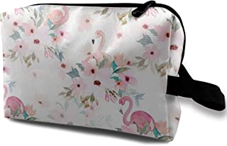 Summer Floral Flamingos Travel Makeup Cute Cosmetic Case Organizer Portable Storage Bag for Women