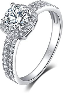 JewelryPalace Exquisite Cubic Zirconia Wedding Anniversary Promise Halo Engagement Ring 925 Sterling Silver