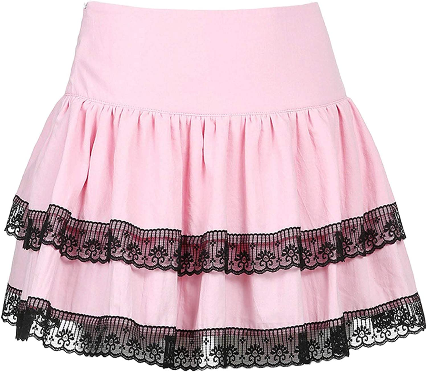 TSSOE Women's Flared Casual Double Layers Lace Trim A-Line Pleated Skirt Mini Skirts