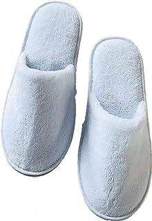 6 Pairs of Disposable Spa Slippers House Slippers for Men Cotton Velvet Closed Toe Thick Soft Non Slip Mens-Slippers Women...