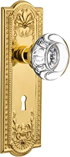 """Nostalgic Warehouse Meadows Plate with Keyhole Round Clear Crystal Glass Knob, Privacy - 2.75"""", Unlacquered Brass"""