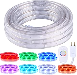 Areful 16.4ft Plugin LED Rope Lights, Flat Flexible Strip Lights, Color Changing with RF Remote Control, Waterproof and Connectable for Indoor Outdoor Decoration, 7 Colors and Multiple Modes