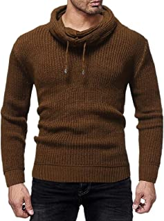 Sodossny-AU Men Solid Color Warm Knitted Pile Collar All Match Winter Vogue Pullover Sweater