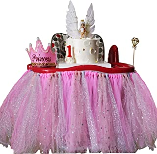Sfirey High Chair Decoration for 1st Birthday Party, Tulle Baby Table Skirt, Girl First Party Supplies (Pink)