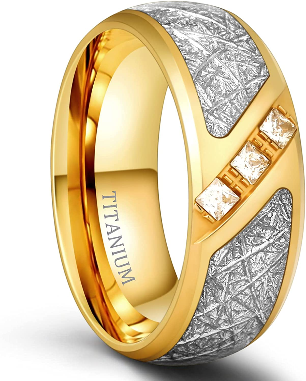 TIGRADE 8mm Gold Titanium Ring for Men Women Cubic Zirconia Meteorite Inlay Dome Polished Wedding Band Comfort Fit Size 7-12