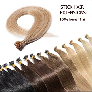 """Pre Bonded Cold Fusion Hairpiece I Tip Hair Extensions Human Hair Highlighted Ash Blonde mixed Bleach Blonde 20 Inch Soft Straight Remy Hair Stick Shoelace Tips—20"""", 18&613, 50g, 100 Strands"""