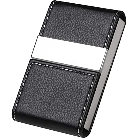 flintronic Business Card Holder   PU Leather Credit Card Holder, Slim Stainless Steel ID Case for Men/Women   Double Open Magnetic Buckle Keep Your Business Name Cards Clean (Black)