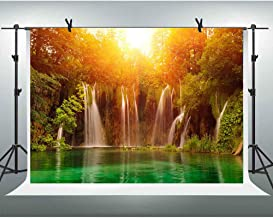 10X6FT Waterfall Backdrops for Photography Pretty Natural Cascade Sunshine Lake Green Trees Background Vinyl Studio Photo Props SPGE311 LELEZ