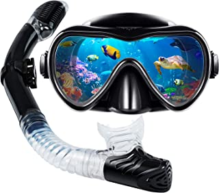 VillSure Snorkel Set Adult,Dry Top Snorkeling Gear,Impact Resistant Anti Fog Tempered Glass Panoramic Scuba Diving Mask,Ea...