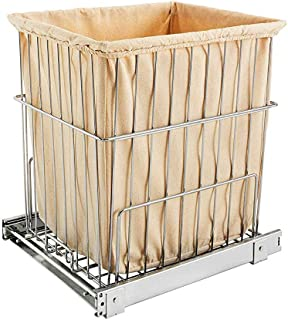 Rev-A-Shelf HRV-1520 S CR Wire Pullout Cabinet Laundry Hamper Basket, Chrome