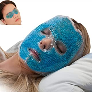 Full Face Gel Mask + Bonus: Eye pad, Hot & Cold Therapy Set |Spa Compress Thermopearl Treatment, Stress Relief, Treats Puf...
