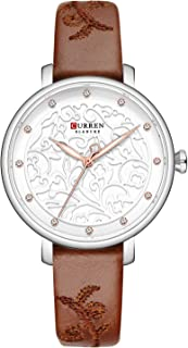 9046 Quartz Women Wristwatch Carved Flower Embroidered Style Watch for Ladies Womens Watches with Leatherette PU Strap Sta...