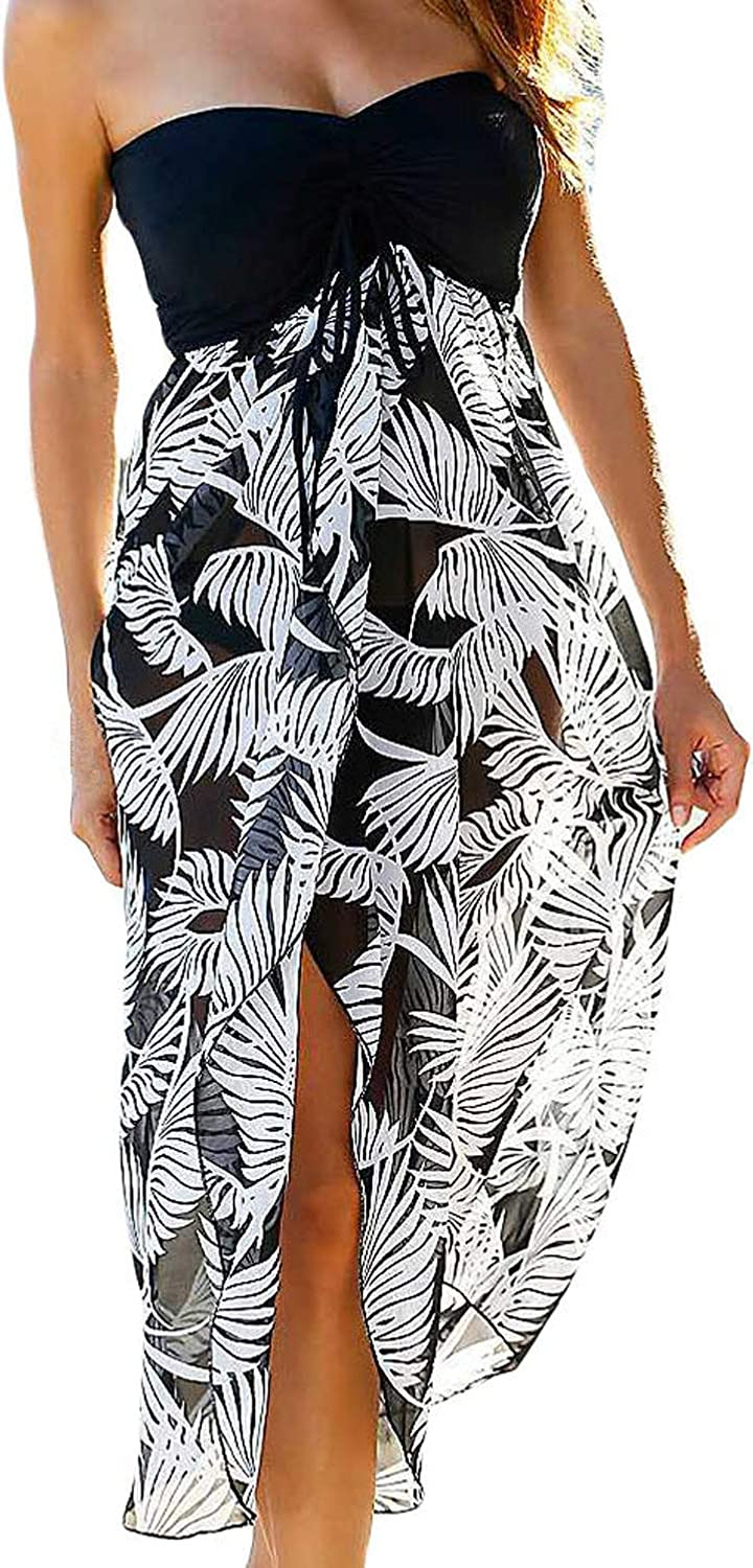 SEBOWEL Womens Summer Dresses Off Shoulder Black White Printed Chiffon Beach Cover Up Swimsuits