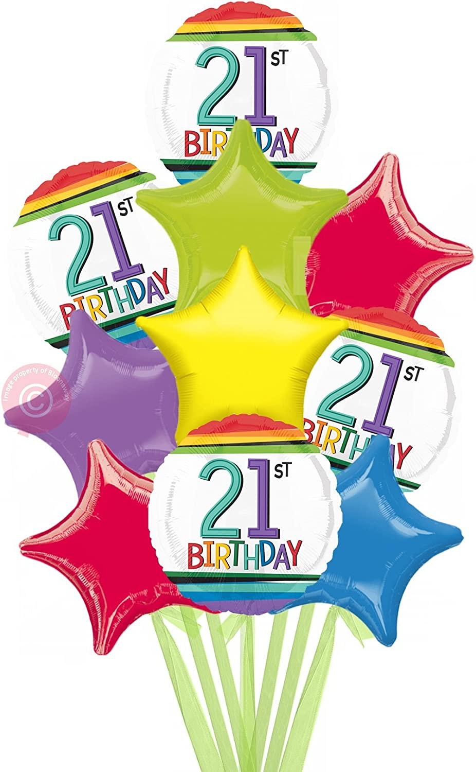 Num 21 Rainbow 21st Birthday  Inflated Birthday Helium Balloon Delivered in a Box  Biggest Bouquet  10 Balloons  Bloonaway