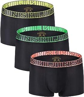 YuKaiChen Jinshi Men's Underwear Soft Bamboo Fiber Boxer Briefs Pack - Black - Medium