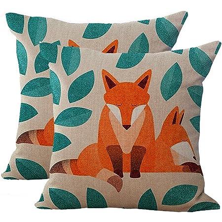 18/'/' New Red Fox Cotton Linen PillowCases Sofa Cushion Cover Throw Home Decor