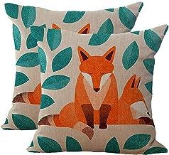 Key-Sunn Set of 2 Hand-Painted Cute Fox Cartoon Cushion Cover Cotton Linen Throw Pillow Case Sham Square Pillowcase Home Sofa Kitchen Chair Seat Office