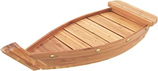 BambooMN Medium Bamboo Sushi Board Serving Tray and Display Boat, 14.5 Inch, Carbonized Brown, 1 Piece