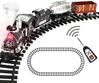 CUTE STONE Remote Control Train Set with Smoke, Sound and Light, RC Train Toy Under Christmas Tree, Gifts for 2 3 4 5 + Ye...