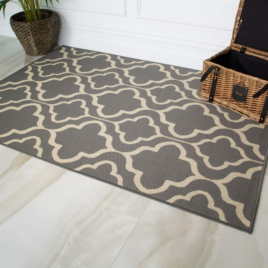 Special price for a limited time Max 67% OFF Habitat Grey Cream Trellis Washable Weather Durable In Resistant