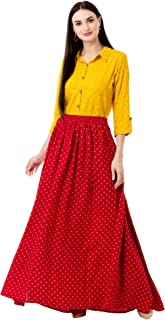 Chokhi Bandhni Women's Rayon Top With Long Skirt Set (Yellow)