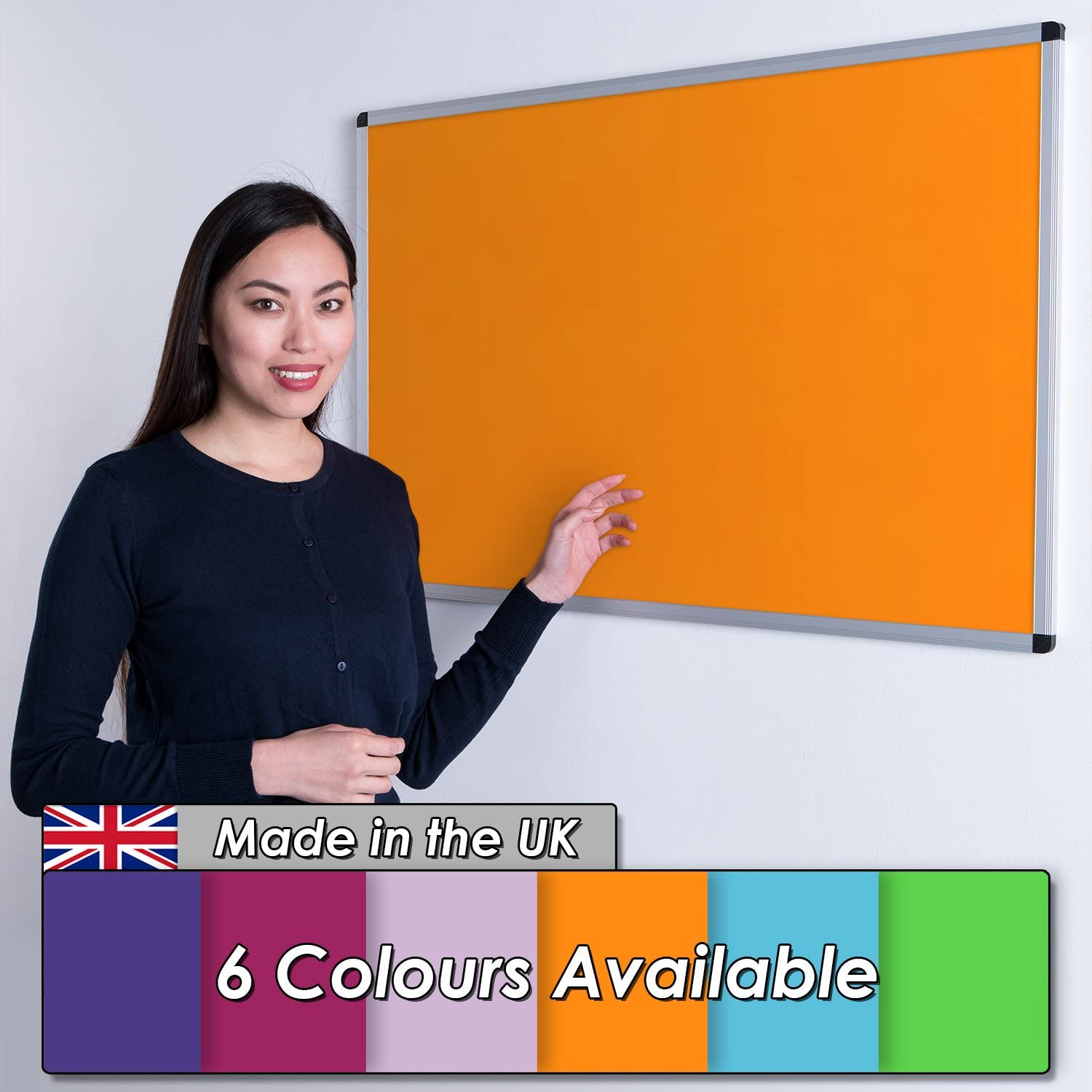 6 Colours to Choose from Violet Wonderwall New Premium Vibrant Noticeboard Aluminium Frame 90x60cm with Fixings Including