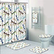 Bathroom 5 Piece Set shower curtain 3d print Multi Style,Dragonfly,Colorful Toned Flying Dragonflies Pattern with Bubbles and Circular Shapes Print Decorative,Multicolor,Bath Mat,Bathroom Carpet Rug,N