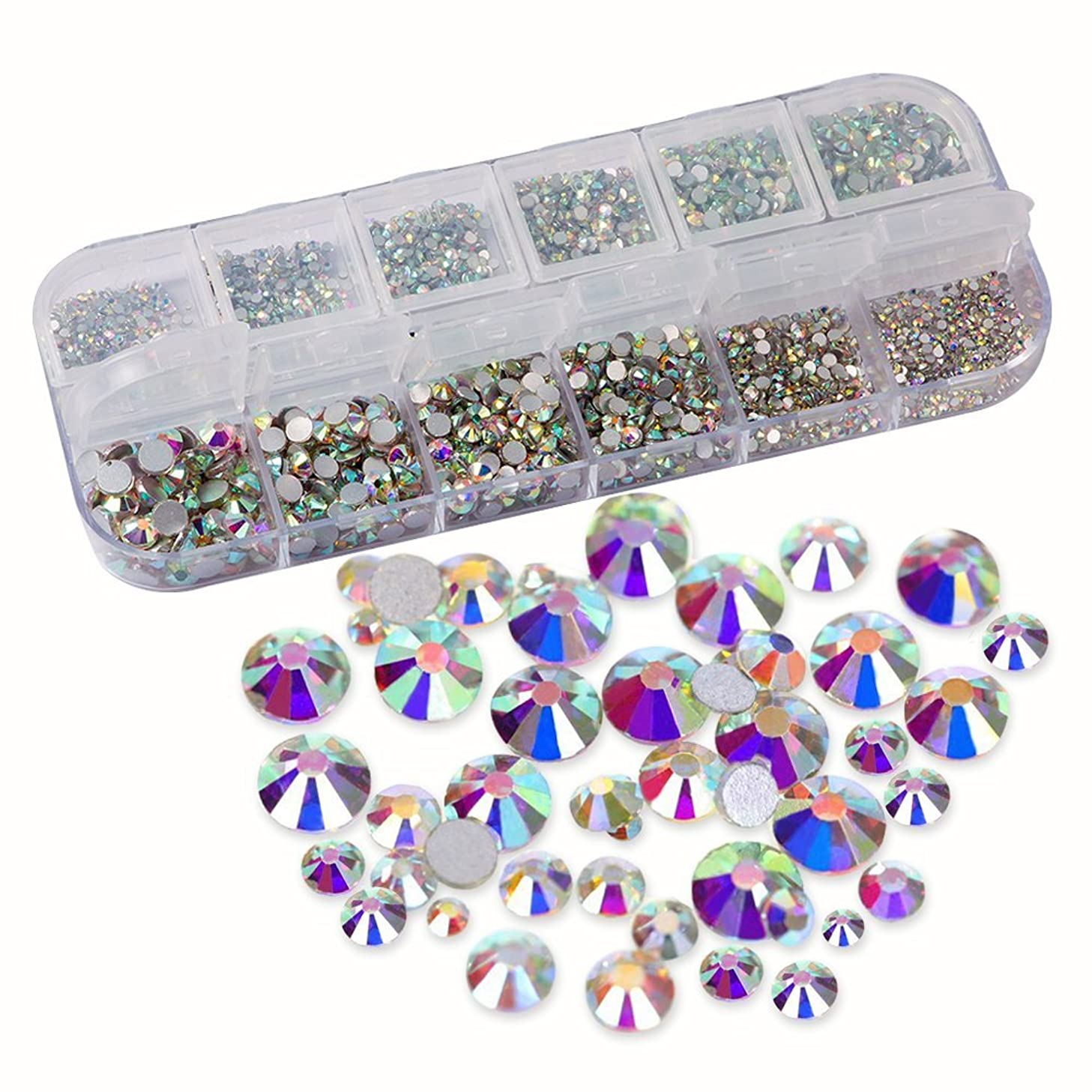 URlighting Crystal AB Rhinestones (3214 Pcs) Nail Art Rhinestones Round Beads Flatback Glass Charms Gems Stones, 9 Sizes for DIY Crafts, Phone, Nail Art, Clothes, Bag, Shoes, Wedding Decoration