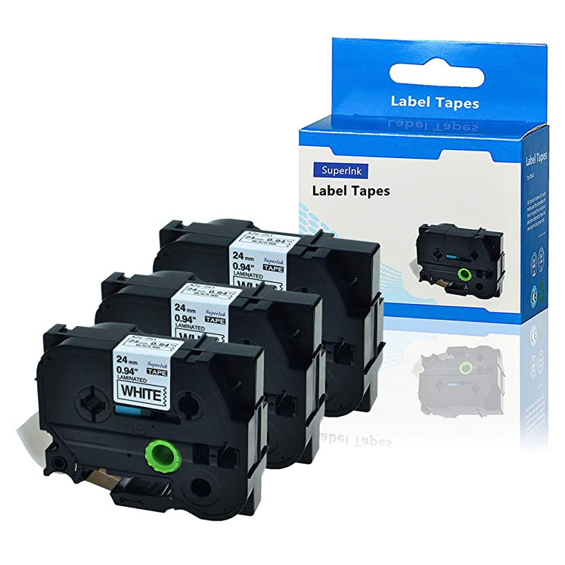 SuperInk 3 Pack Compatible for Brother TZe-251 TZ-251 TZ251 TZe251 TZe Tape 24mm 1'' Laminated Black on White Label use for P-Touch PTD600 PTE500 PTE550W PTP700 PTP750W Labeler Label Maker 8m 26.2ft
