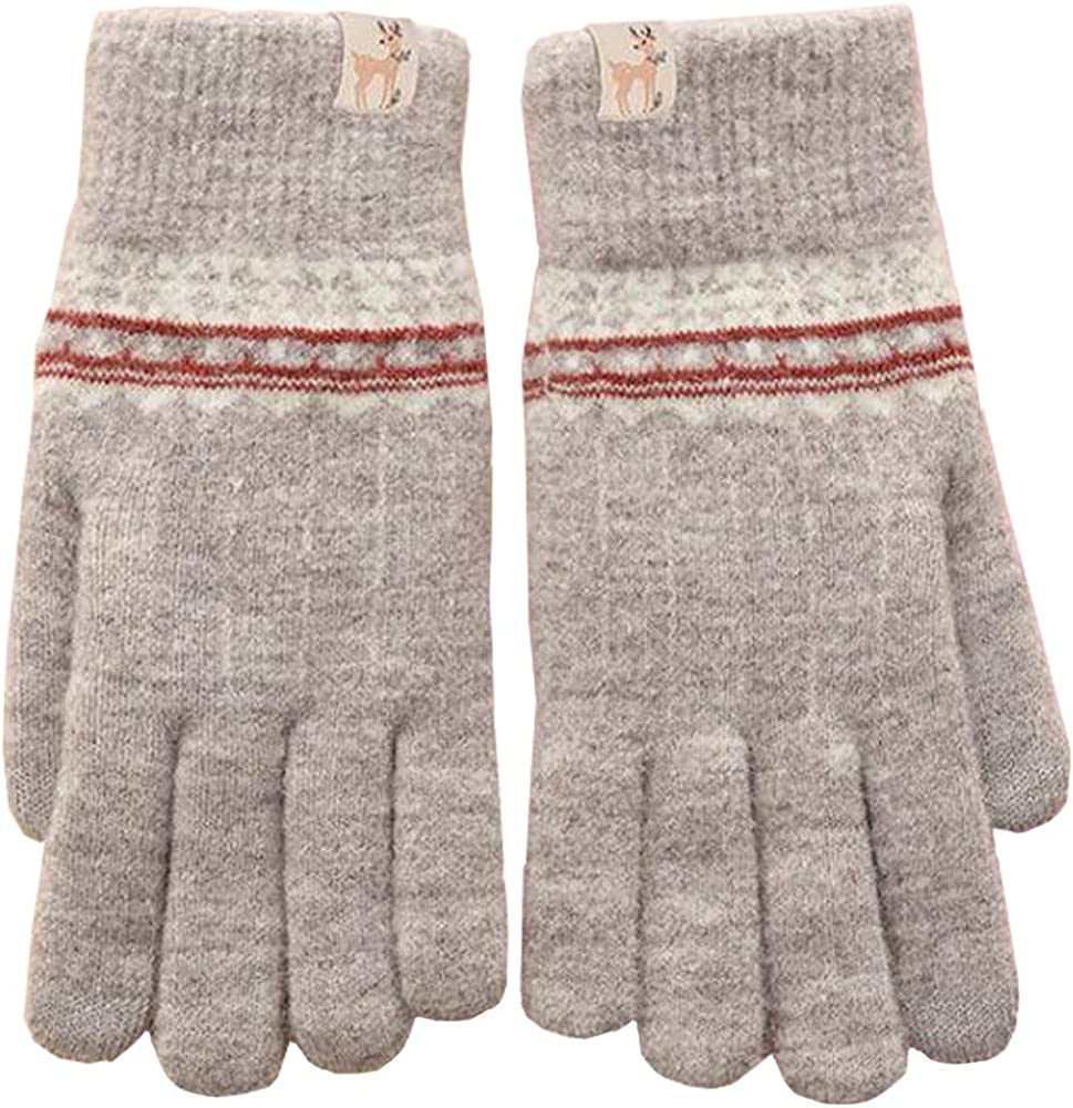 Womens Winter Gloves Knit Warm Full Fingers Anti-Slip Touchscreen Texting Mitten