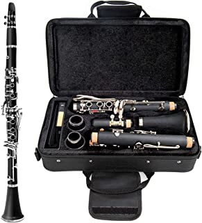 Costzon Professional Bb Flat 17 Silver Plated Cupronickel Keys Clarinet, Complete Set w/ 2 Barrels & Mouth Piece Kit, Carrying Case, 100% Natural Ebony Wood, for Beginners, Students
