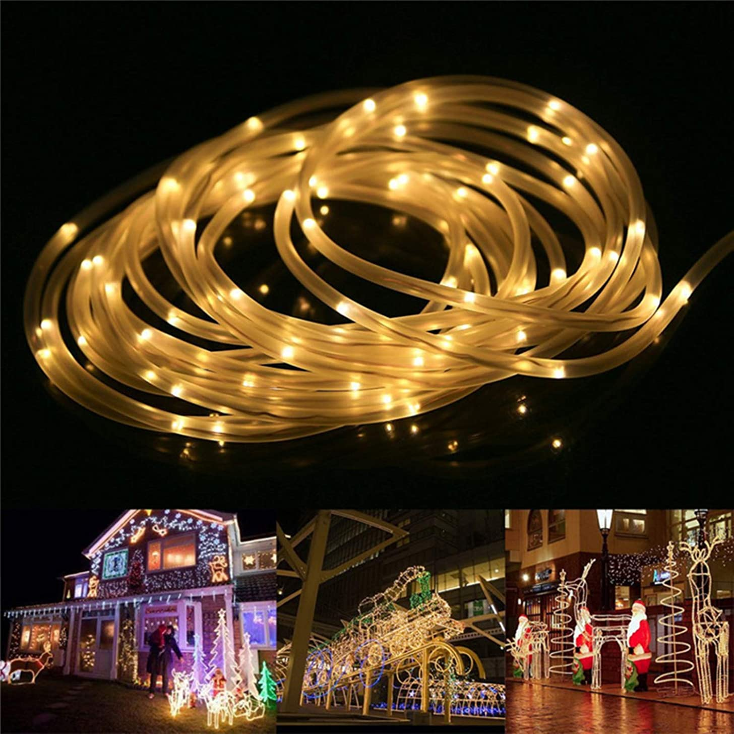 SSTQSAA Fairy Lights LED Rope Lights Battery Operated String Lights 33ft 8 Mode Fairy Lights Waterproof Firefly Lights with Remote Timer (A)