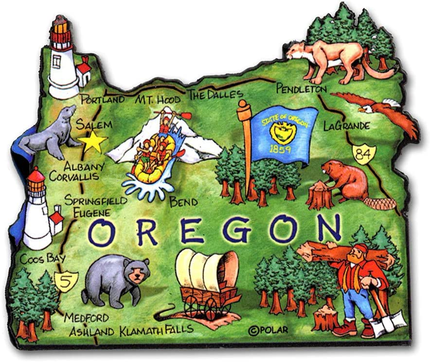 Oregon Artwood State Magnet Collectible Souvenir by Classic Sales for sale Long Beach Mall Magn