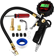 Ralthy Digital Tire Inflator Pressure Gauge, 250PSI Heavy Duty Air Chuck and Compressor Accessories with Rubber Hose and Quick Connect Plug for Auto, Truck, Bike, Motorcycle, Backlit LCD 0.1 Accuracy
