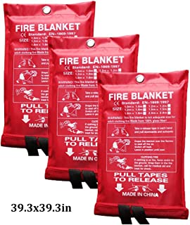 Emergency Fire Blanket Kitchen Suppression Blanket Survival Safety Cover Flame Retardant Blanket for Kitchen Fireplace Office Warehouse Barbecue (Color : White, Size : 39.3x39.3inch)