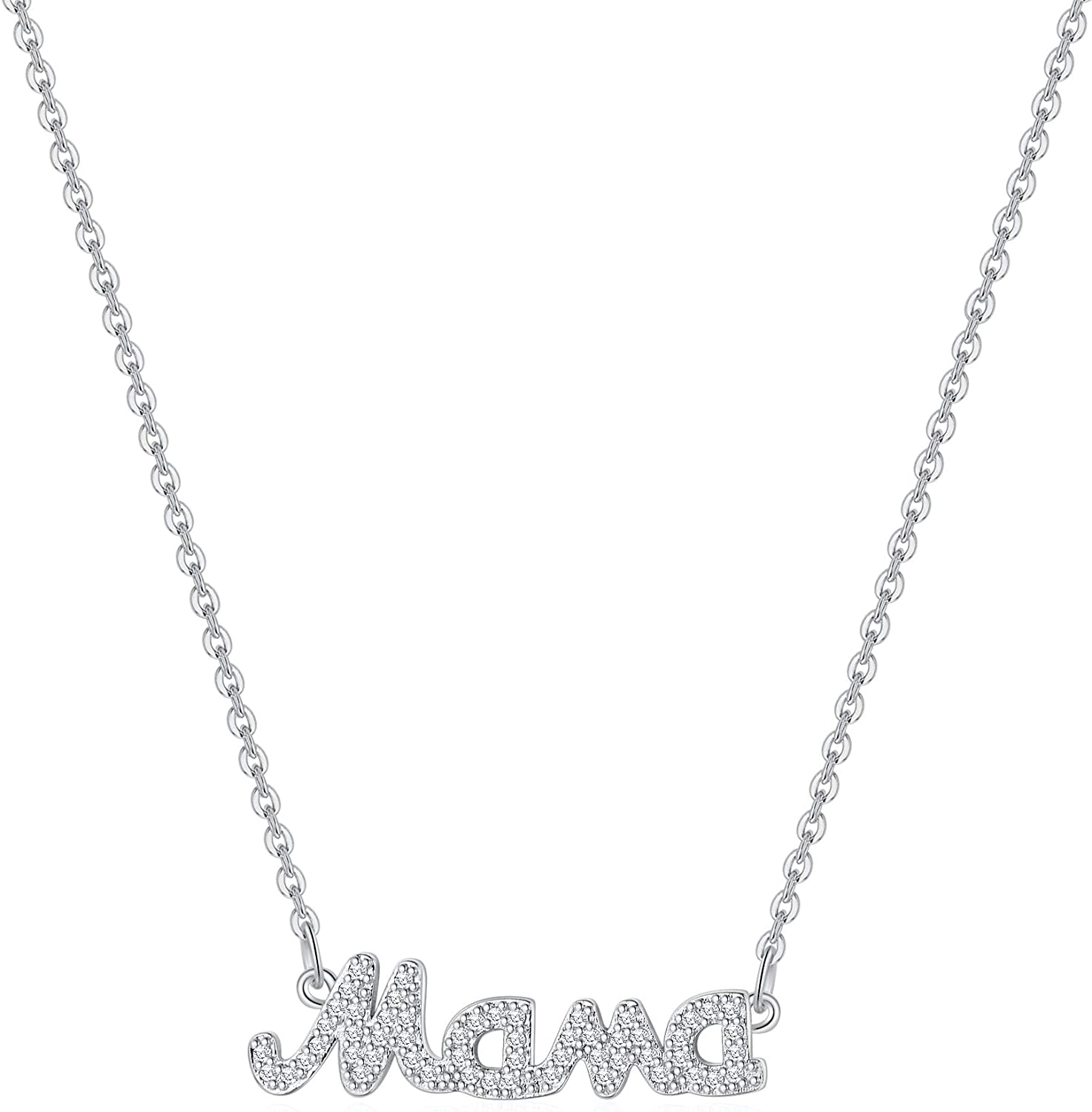 Mama Gorgeous Necklace Gifts for Mom Dainty Mam CZ 14K Gold 5 popular Mommy Plated
